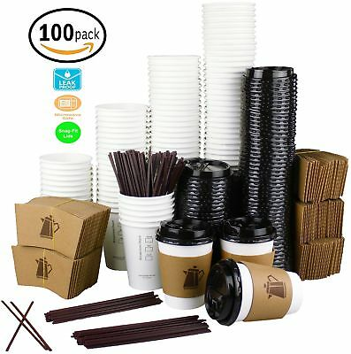 [12 oz - 100 Pack] Disposable White Paper Coffee Cups with Lids, Sleeves,