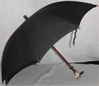 Vintage/antique black cotton canopy umbrella - dogs head handle with glass eyes