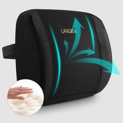 LANGRIA Lumbar Pillow Memory Foam Back Cushion Car Seat for Lower Back Pain and