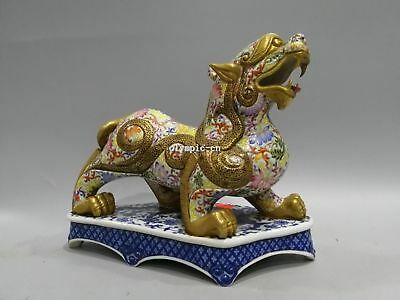 Pair 10'' chinese wucai porcelain gold drawing auspicious dragon kylin unicorn