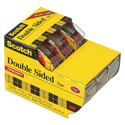 "665 Double-Sided Office Tape in Hand Dispenser, 1/2"" x 250"", 3/Box"