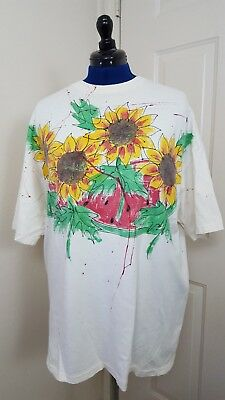 Vtg Hanes Beefy-T women's Preshrunk T shirt XX large paint splatter sunflower