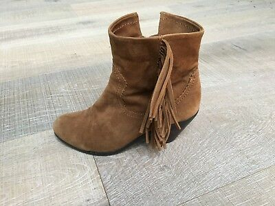 b7f577adba6135 SAM EDELMAN BROWN Louie Boots Suede Soft Saddle Fringe Ankle Booties ...