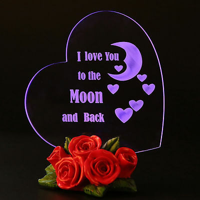 77e5c5c79d58 Glass Heart I Love You To The Moon and Back Gift For Her Mothers Day Colors