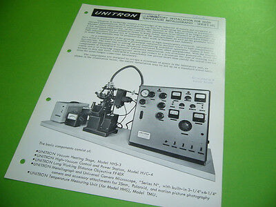 208R05 Prospekt brochure leaflet: UNITRON SERIES HTL Laboratory Installation for