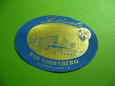 208R01 Kofferaufkleber Parkhotel Bad Godesberg Luggage Label Diplomatic corps