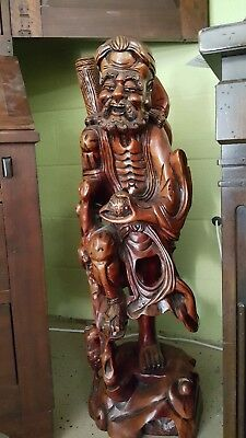"Very LARGE 35"" Antique Carved Asian Chinese Rosewood Wooden Figure Statue 89cm"