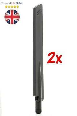 2x 2.4GHz 5dBi router booster Antenna WiFi 4G LTE Aerial RP-SMA male Black UK