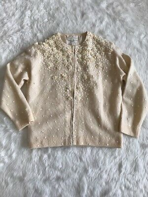 Ladies Vintage Hudson's Bay Company Beaded Ivory Sequin Cardigan Size 36  Small