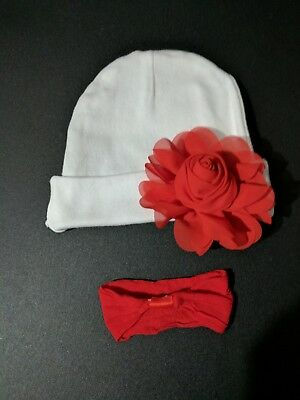 Baby girl beanie white hat red bow alligator clip headband 0-6months Valentine