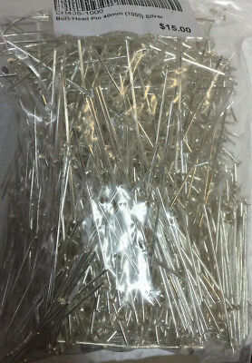 Wholesale 40mm Silver Plated Head Pins x1000