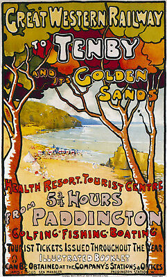 Vintage Tenby Gwr Great Western Railway Travel A4 Poster Print