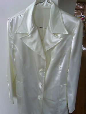 Vintage Shoulder Pad Fully Lined White Shiny Long Sleeve Jacket