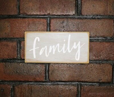Handmade Small Welcome Family Love Wall Hung Rustic Wooden Sign Plaque