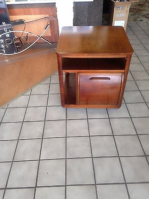 Vintage Mid-Century Bar, Walnut Liquor Cabinet, End Table, Wheeled