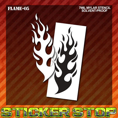 FLAME STENCIL (Mylar, Airbrush, Craft, Re-Usable, Fire)