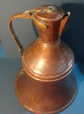 Vintage Large Bell Bottom Copper Pitcher 15 1/2 inches tall