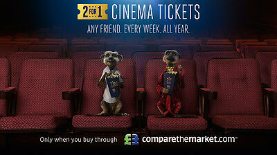 * 99p ! * MEERKAT MOVIES 2-for-1 CINEMA TICKET VOUCHER CODE, Odeon Vue CineWorld