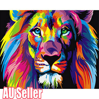 Filling Oil Canvas Paint By Number Kit Multi-Colored Lion Animals Painting MN