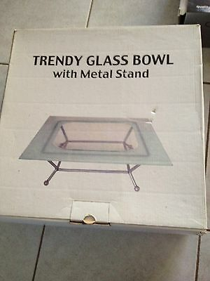 Trendy Glass Bowl With Metal Stand
