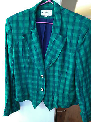Vintage Bella Donna Green Shoulder Pad Long Sleeve Check Jacket Faux Pocket Sz40