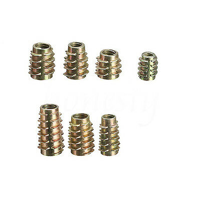 10/20X M4 M6 M8 Hex Drive Screw In Threaded Insert Nuts Bushing For Wood Type E