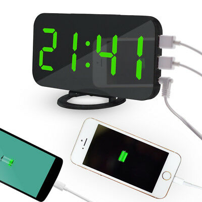 LED Digital Alarm Clock With USB Port For Phone Charger Touch-Activited Snooze