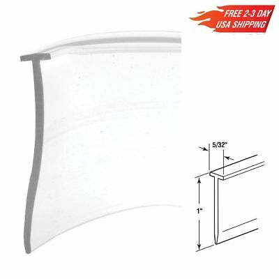 "36"" Flexible Vinyl T Shaped Bathroom Shower Door Bottom Seal Gasket Strip Clear"