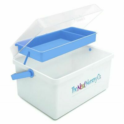 The Neat Nursery Co. Baby Bath Essentials / Shampoo Box Organiser - White / Blue