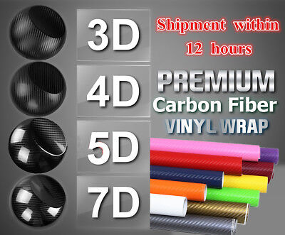 3D 5D Carbon Fiber Vinyl Car Wrap Sheet Roll Film Sticker Decal All Size/Colours