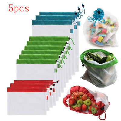 5pcs Fruit & Grocery Bags Reusable Mesh Bags Rope Vegetable Toys Storage Pouch