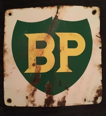 BP Vintage British Petroleum Pump Sign Plate Gas Oil Advertising Porcelain