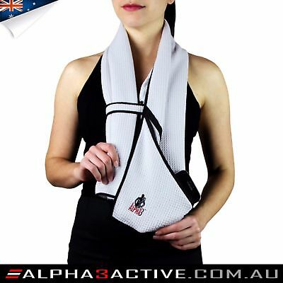 Alpha3Active towel (WHITE ONLY), microfiber, pocket, zipper, gym, sport, fitness