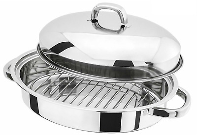 Stainless Steel Oven Roaster Baking Roasting Tray Pan with Lid & Grill Rack 37cm