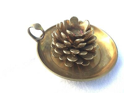 Solid Brass Pine Cone Candle Holder & Antique Chamber Style Carrier ~ Christmas!