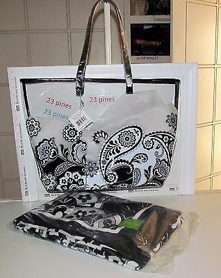 Vera Bradley Lot Lg Midnight Paisley Clearly Colorful Beach Tote Beach Towel Nwt