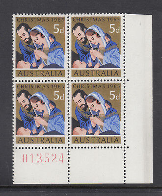 """1965 5d Xmas SG 381 """"SHEET NUMBER BLOCK OF 4"""" BW 435zb MUH with """"DR BLADE F.LAW"""""""