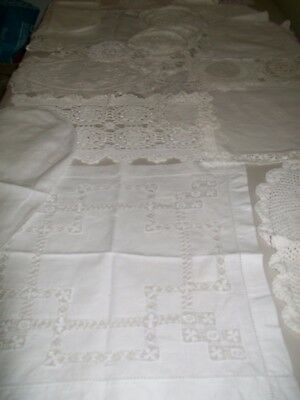 vintage and new, bulk white doilies,  2 runners new battenburg t,cloth.