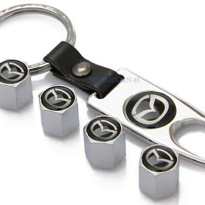 4X Car Decoration Wheel Tyre Valve Stems Caps Covers Keychain Logo For Mazda