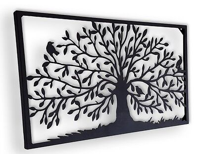 Tree of Life Metal Hanging Wall Art Iron Sculpture Rectangular Black BIG *97 cm*