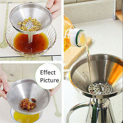 Stainless Steel Pouring Decanting Funnel With Filter Jam Strainer 11cm/13cm/15cm