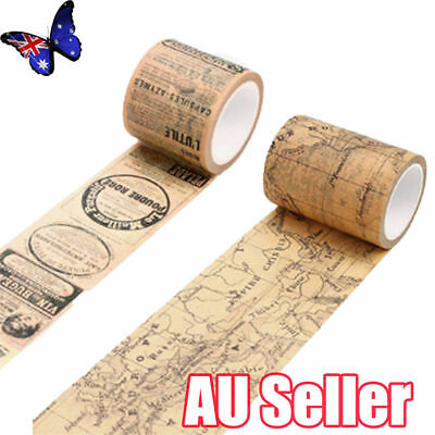 Vintage Map Washi Tape Paper Sticky Adhesive Sticker Paper Decorative DIY MN