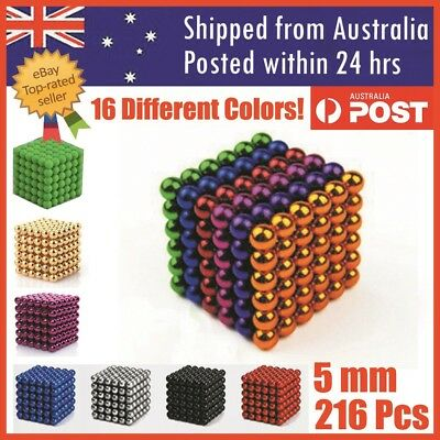 216pcs Magnets Blocks Rare Earth Cubes Neodymium Super Strong Magnet 5mm AU