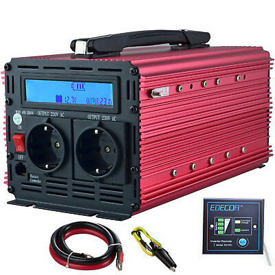 2000W 4000W DC 12V to AC 220V 230V Power Inverter Convertitore LCD Handle Rosso
