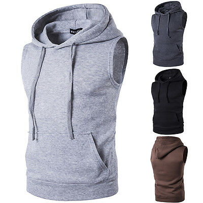 Mens Sleeveless Hoodie Tank Top Summer Hoody Casual Gym Sport Vest T Shirt Tee