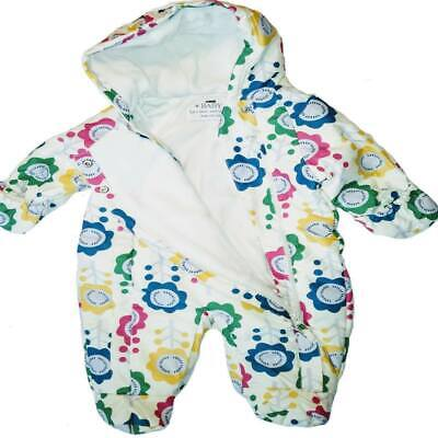 Baby Snowsuit Pramsuit Floral Quilted Hood Padded 3/6m 6/9m