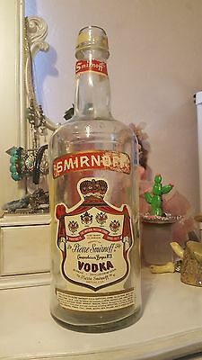 "Huge 18"" Glass Smirnoff Vodka Bottle Vintage Bar Display Novelty Man Cave"
