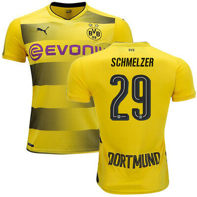 Adults L BVB Home Authentic Shirt 17-18 Schmelzer 29,Bundesliga & Opel Badge BV1