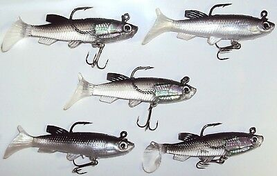 Soft Plastic Vibe Lures Swimbait Poddy Mullet Jig Heads Freshwater Fishing Lure