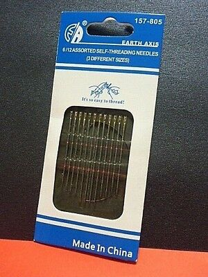 12 Self Threading Hand Sewing Needles 3 Sizes Various Brands Standard Sharps Sew
